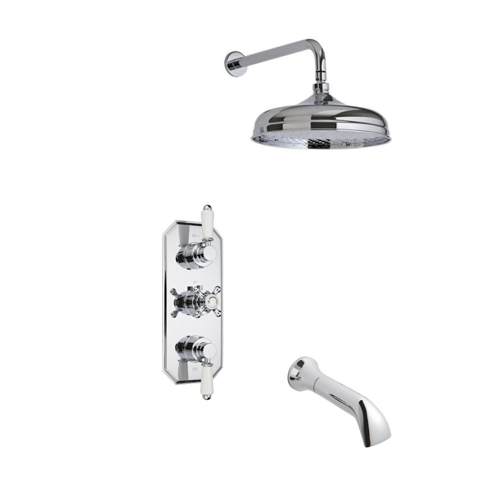 Milano Traditional Triple Thermostatic Valve with 150mm Head, Wall Arm and Spout