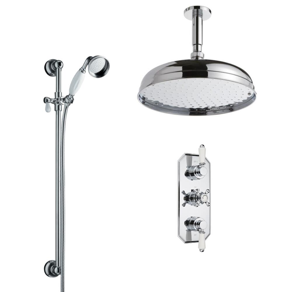 Milano Traditional Triple Thermostatic Valve with 300mm Head, Ceiling Arm and Slide Rail Kit