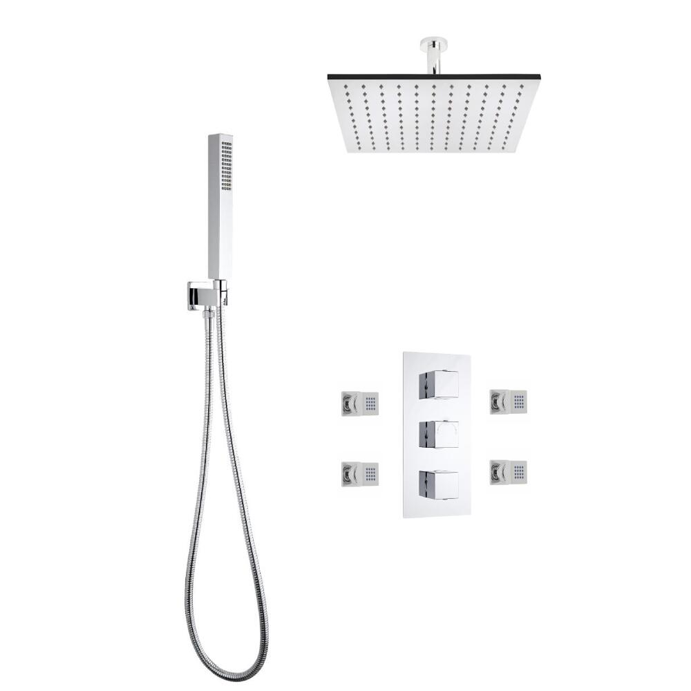 Milano Square Triple Diverter Thermostatic Valve, 400mm Head, Ceiling Arm, Handset and Body Jets