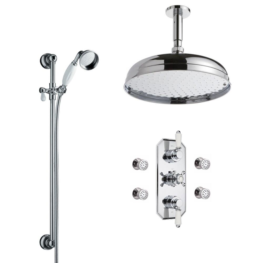 Milano Traditional Triple Thermostatic Valve, 300mm Head, Ceiling Arm, Slide Rail, Body Jets