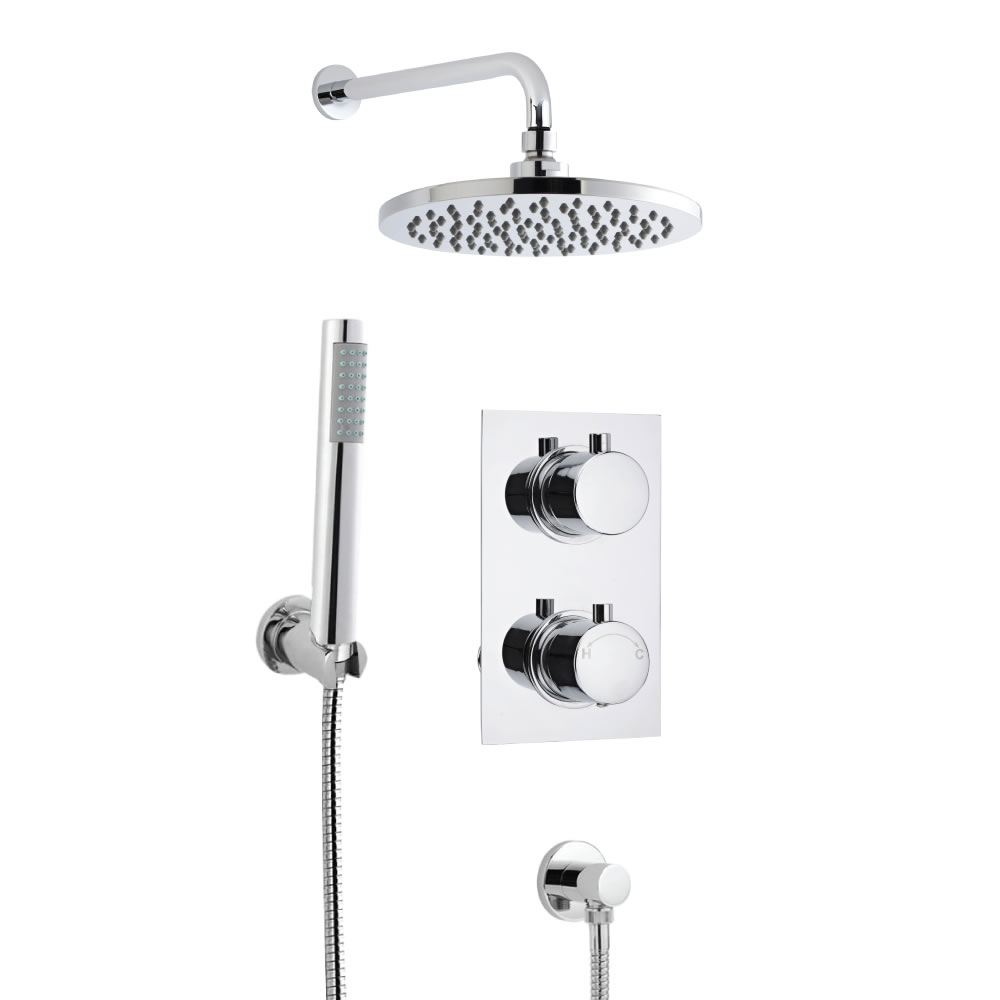 Milano Round Concealed Thermostatic Shower with Wall Mounted Head and Hand Shower