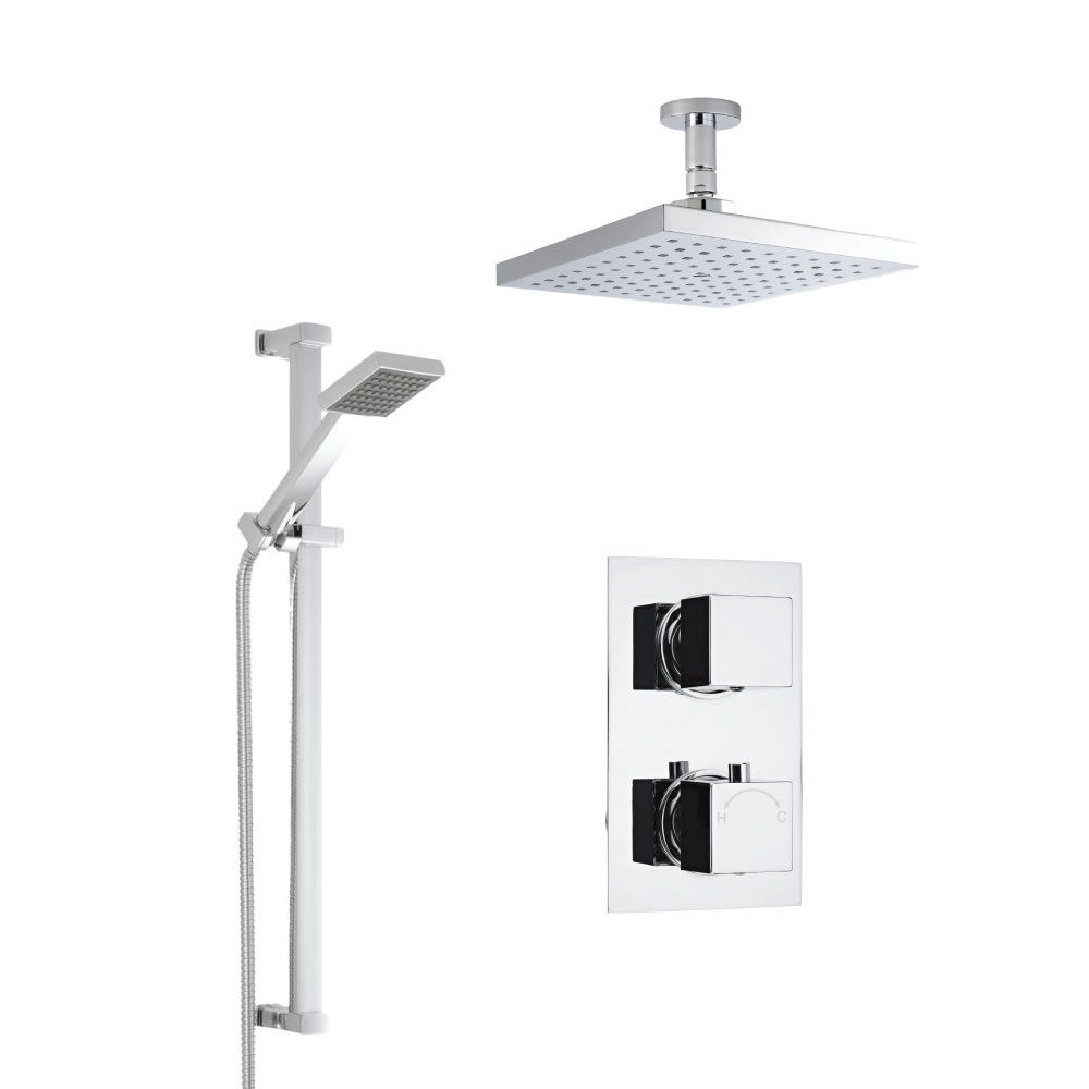 Milano Square Twin Thermostatic Shower Valve, Ceiling Mounted 200mm Head and Slide Rail Kit