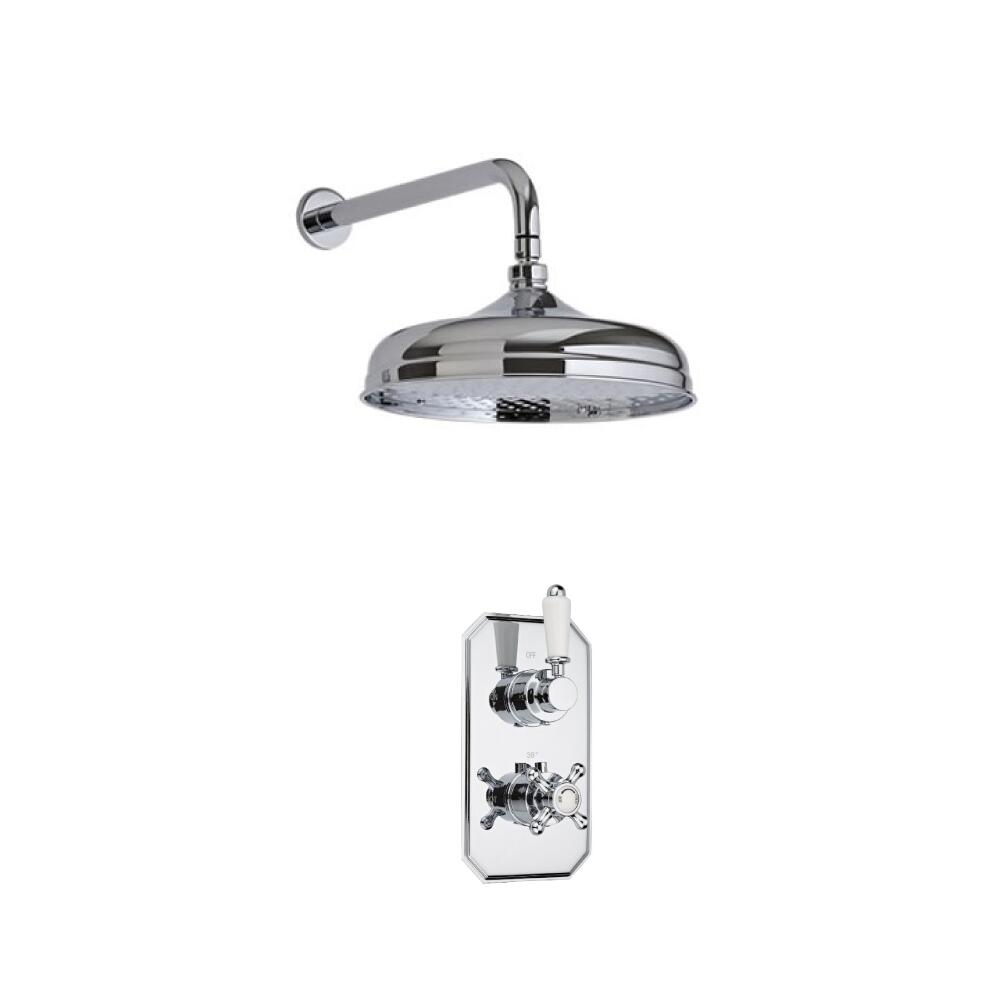 Milano Twin Thermostatic Shower Valve With Wall Arm and 150mm Shower Head
