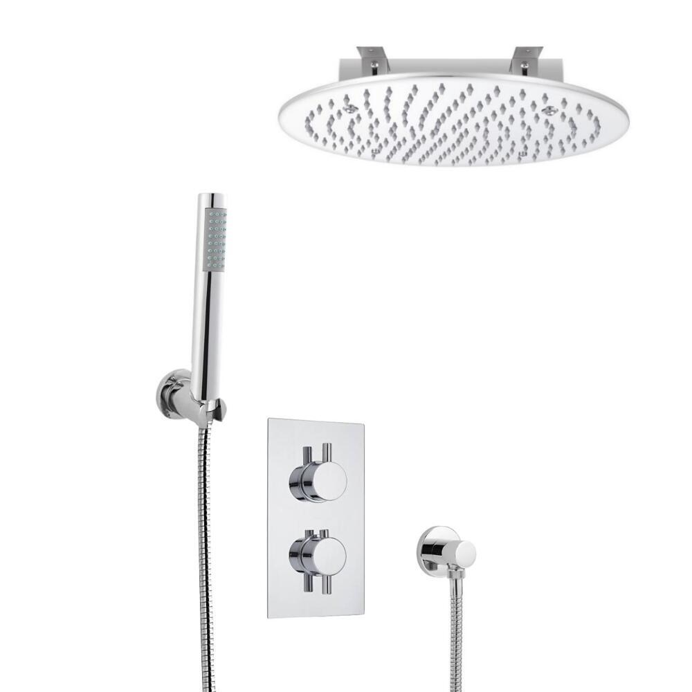 Milano Round Twin Diverter Thermostatic Valve, 400mm Recessed Head and Hand Shower