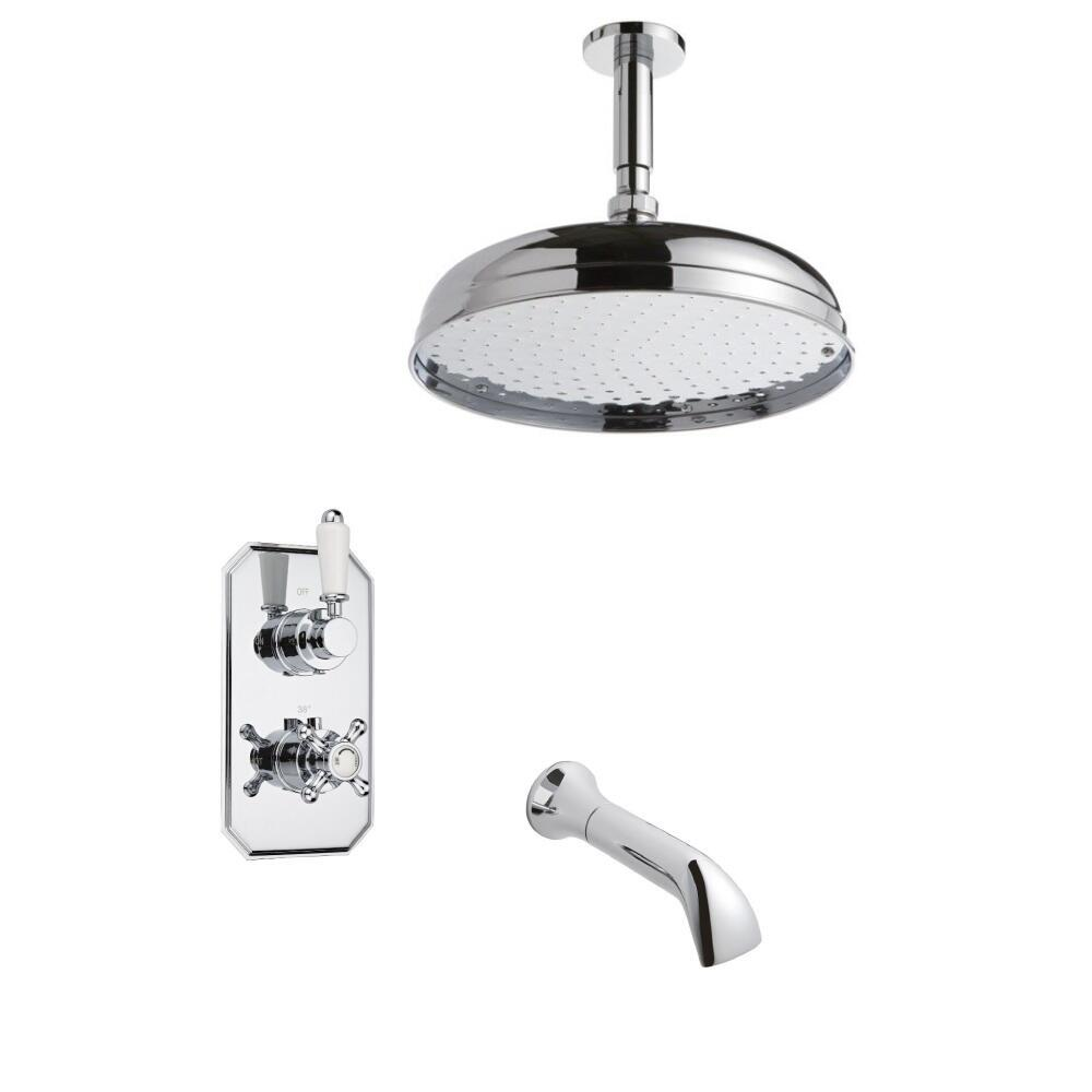 Milano Traditional Twin Diverter Thermostatic Valve, 300mm Head, Ceiling Arm and Spout