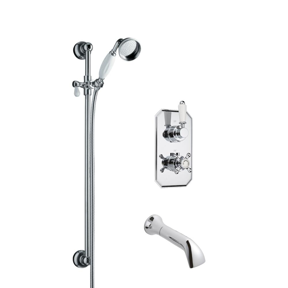 Milano Traditional Twin Diverter Thermostatic Shower Valve with Slide Rail Kit and Spout