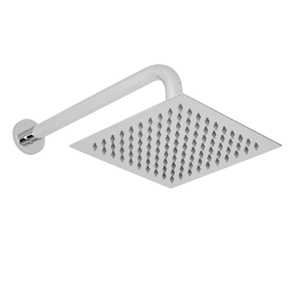 200mm Square Shower Head and Curved Wall Arm