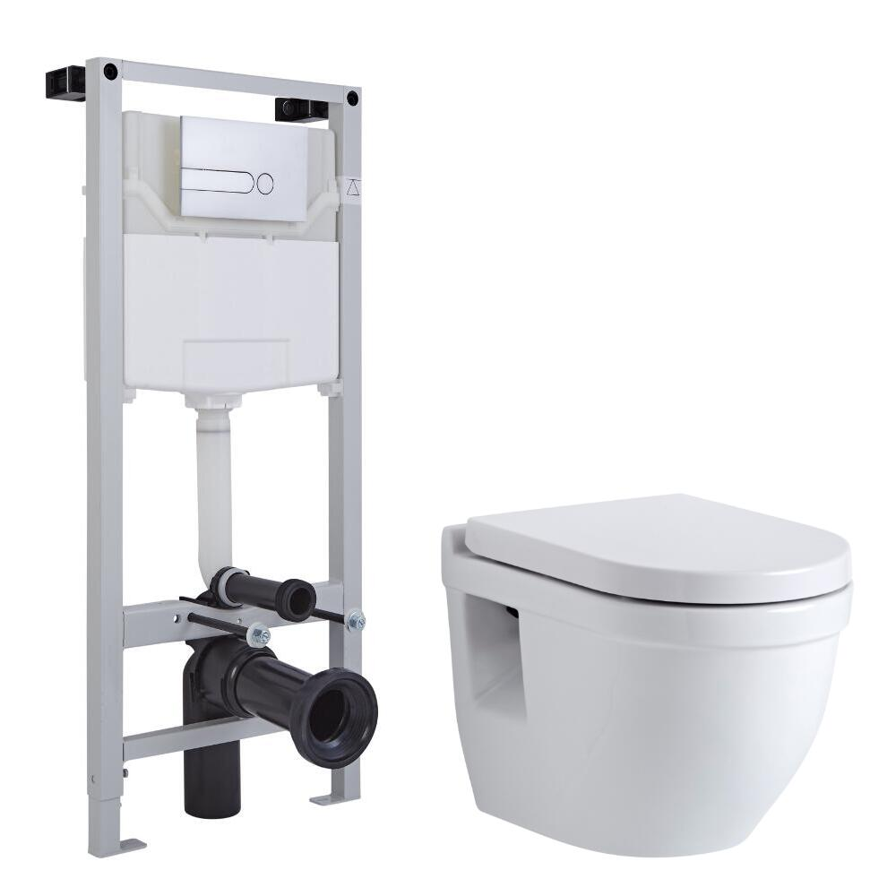 Milano Newby Wall Hung Toilet, Tall Wall Frame and Choice of Flush Plate