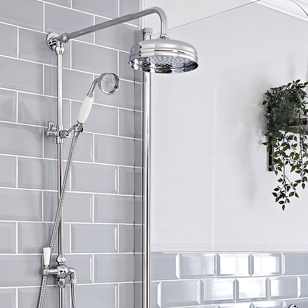 Milano Elizabeth - Traditional Victorian Grand Rigid Riser Shower Kit with 8 inch Shower Head - Chrome