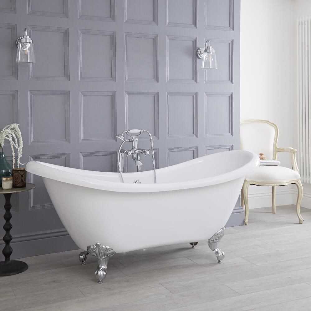 Milano - 1750mm x 720mm Double Ended Freestanding Slipper Bath with Choice of Feet