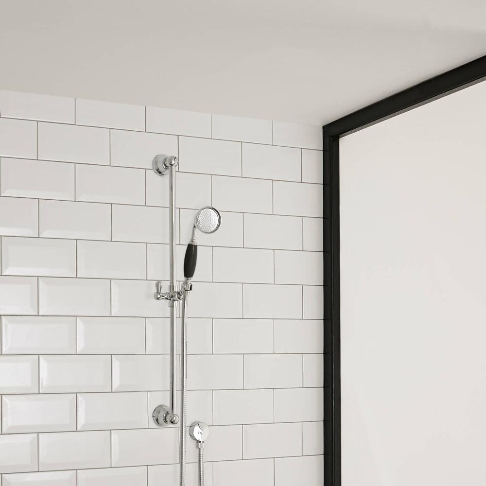 Hudson Reed Topaz - Traditional Slide Rail Kit with Hand Shower and Outlet Elbow - Chrome and Black