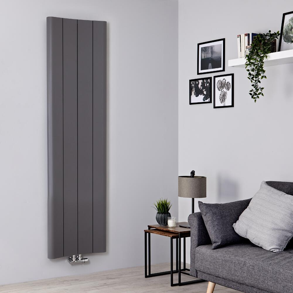 Milano Solis - Aluminium Light Grey Vertical Designer Radiator - 1800mm x 495mm