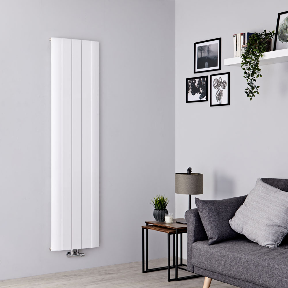 Milano Skye - Aluminium White Vertical Designer Radiator - 1800mm x 470mm