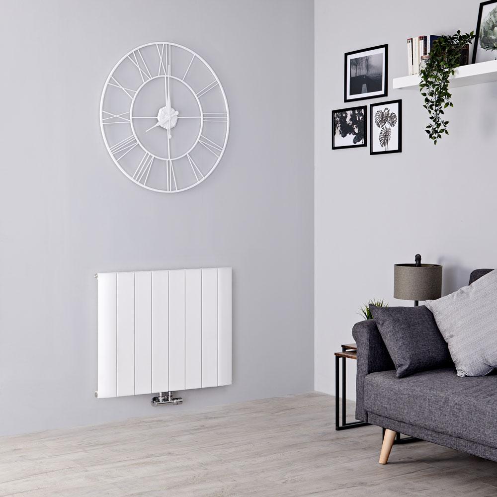 Milano Skye - Aluminium White Horizontal Designer Radiator - 600mm x 755mm
