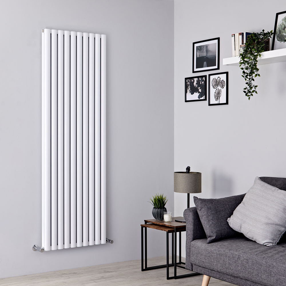 Milano Aruba Ayre - Aluminium White Vertical Designer Radiator - 1800mm x 590mm (Double Panel)