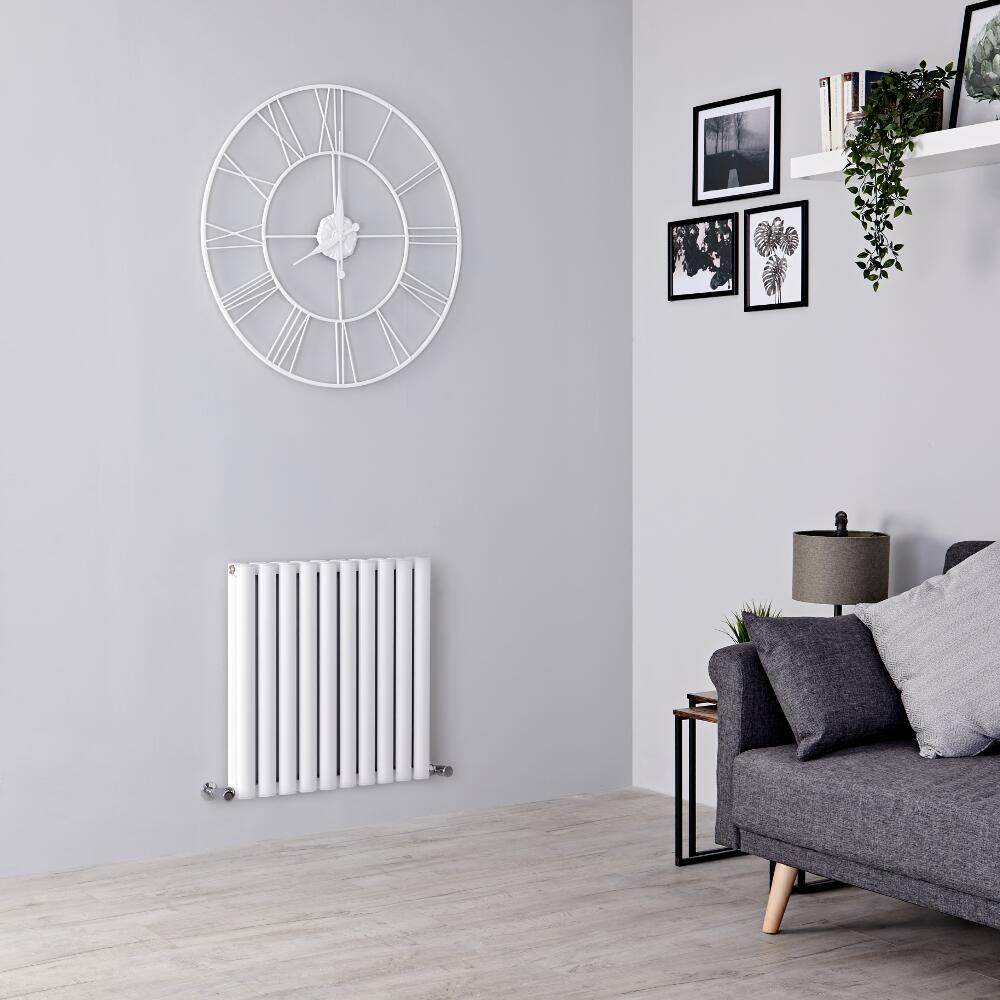 Milano Aruba Ayre - Aluminium White Horizontal Designer Radiator - 600mm x 590mm (Double Panel)