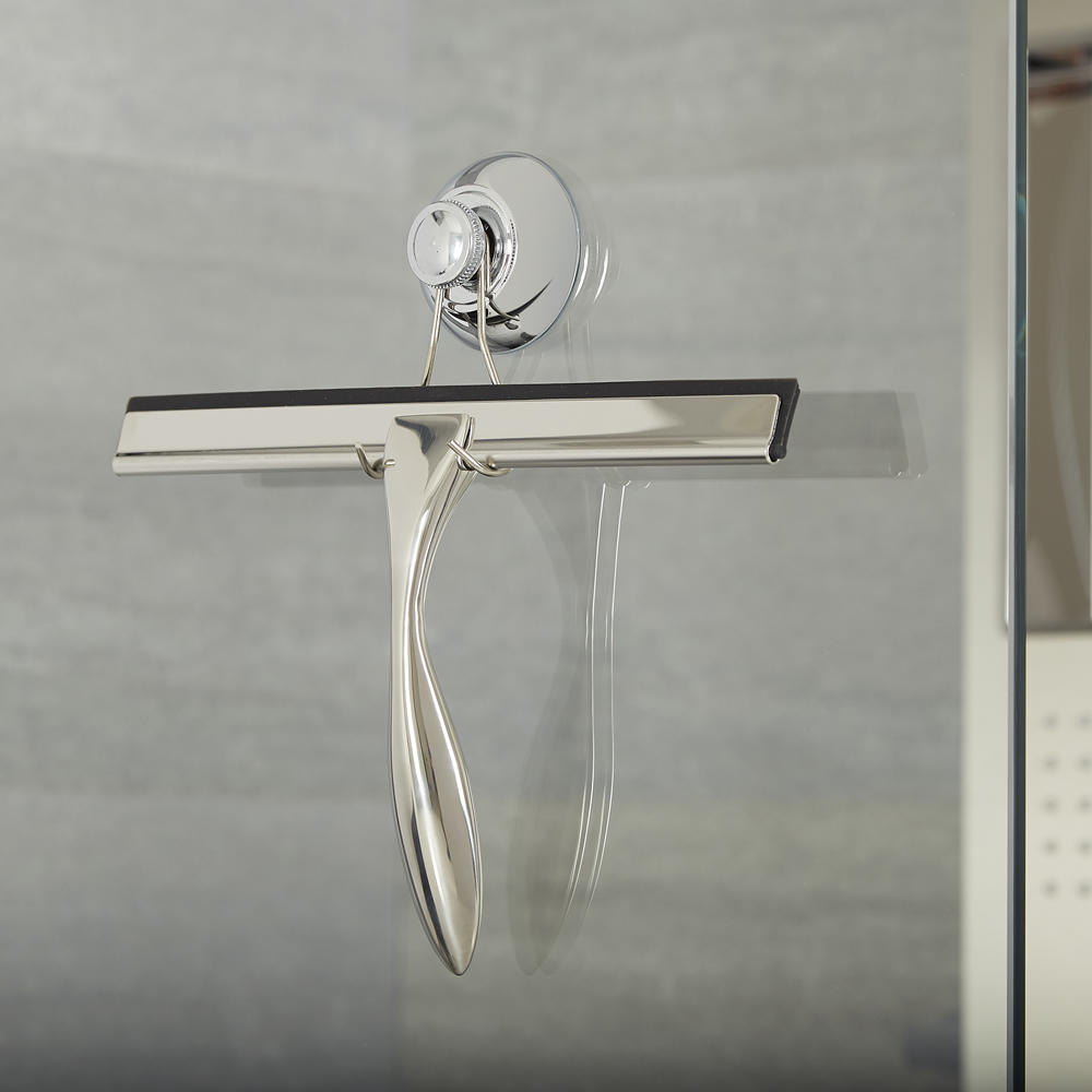 Milano Portland - Modern Shower Squeegee with Sucker Hook - Chrome