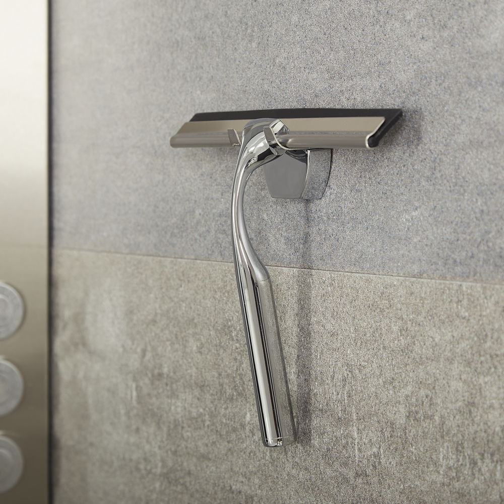 Milano Portland - Modern Shower Squeegee with Wall Hook - Chrome