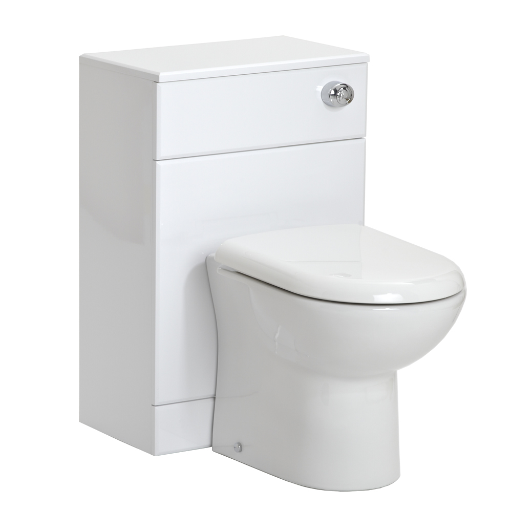 Milano - White Modern WC Unit Toilet with Cistern and Seat - 765mm x 500mm