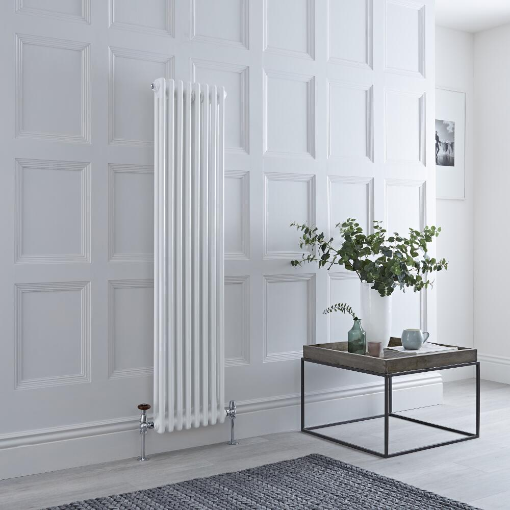 Milano Windsor - White Traditional Vertical Column Radiator - 1500mm x 383mm (Double Column)