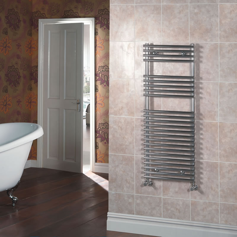 Kudox Harrogate - Chrome Flat Bar on Bar Heated Towel Rail - 1150mm x 450mm