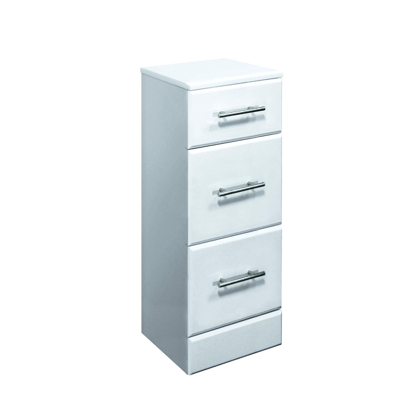 Premier 350x300mm Classic 3 Drawer Unit Gloss White