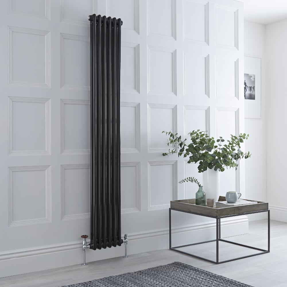 Milano Windsor - Black Traditional Vertical Column Radiator - 1800mm x 293mm (Double Column)
