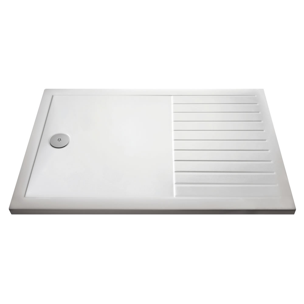 Premier 1600 x 800mm Acrylic Rectangular Walk-in Shower Tray with Drying Area