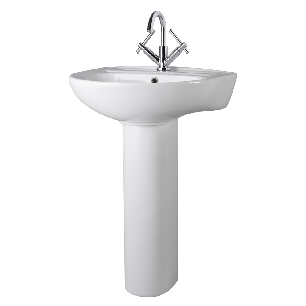 Premier Perth - 550mm Basin with Full Pedestal - 1 Tap-Hole