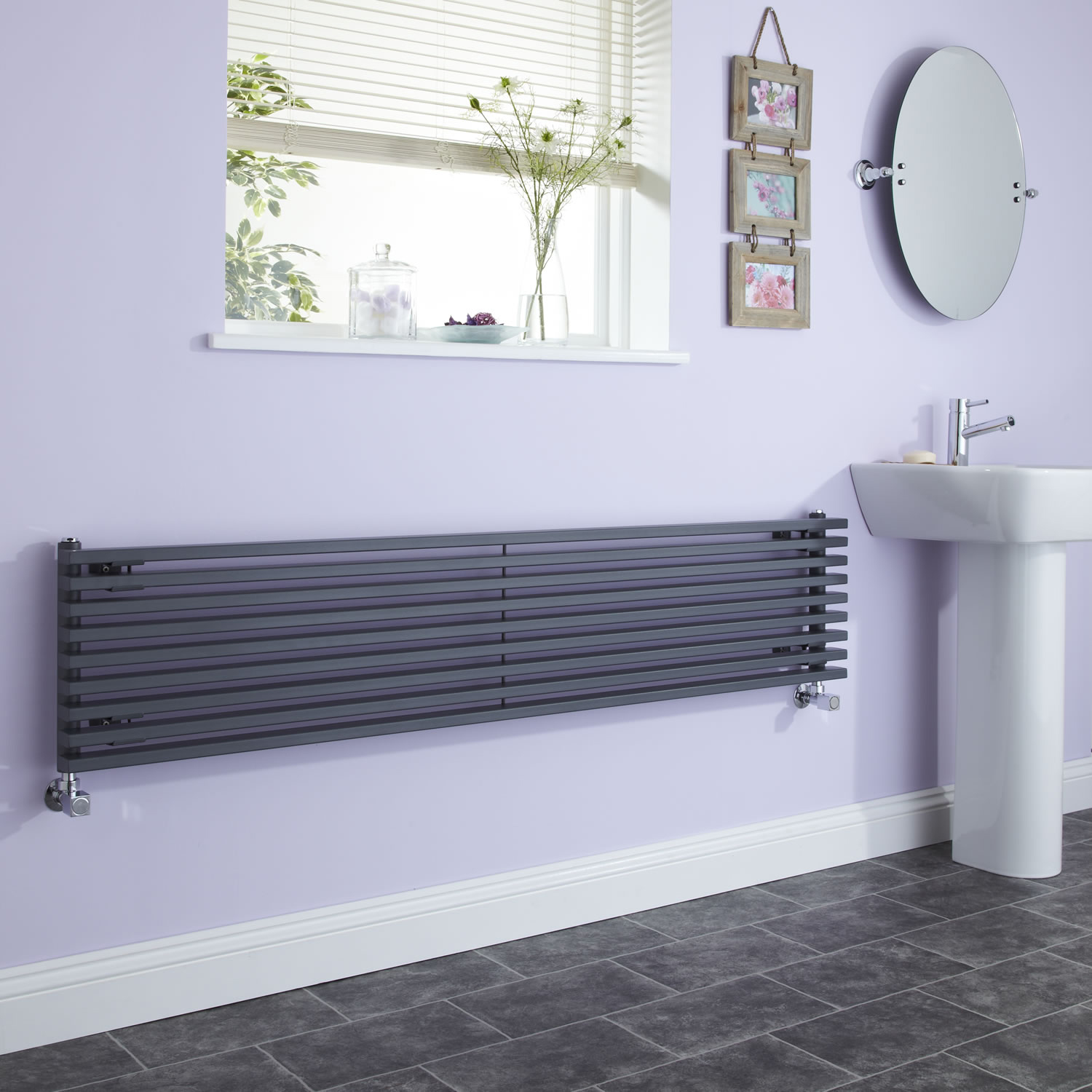 Milano Cayos - Luxury Anthracite Horizontal Designer Radiator Sideways Panels 342mm x 1780mm