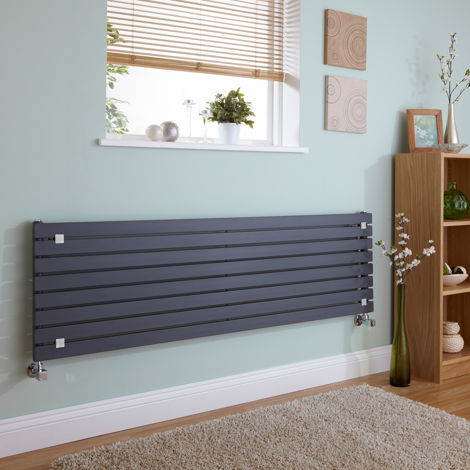 Milano Capri - Anthracite Horizontal Flat Panel Designer Radiator - 472mm x 1600mm