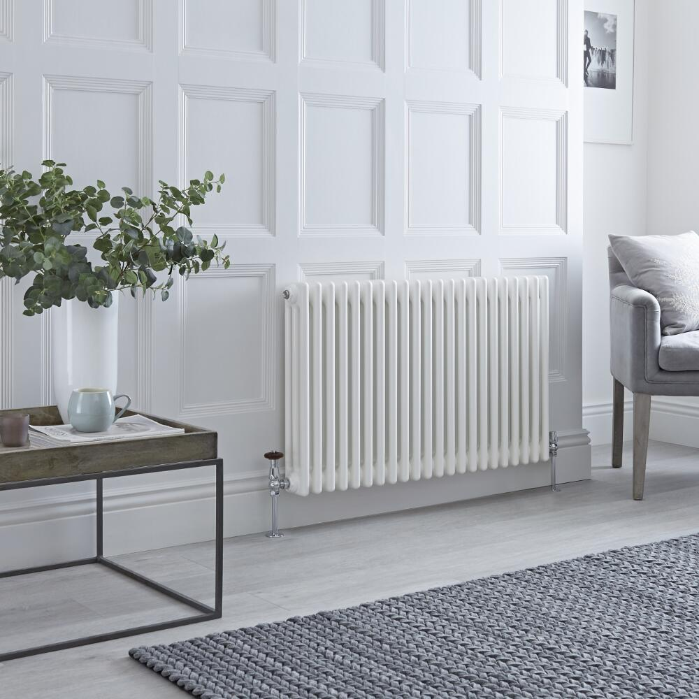 Milano Windsor - White Horizontal Traditional Column Radiator - 600mm x 1010mm (Triple Column)