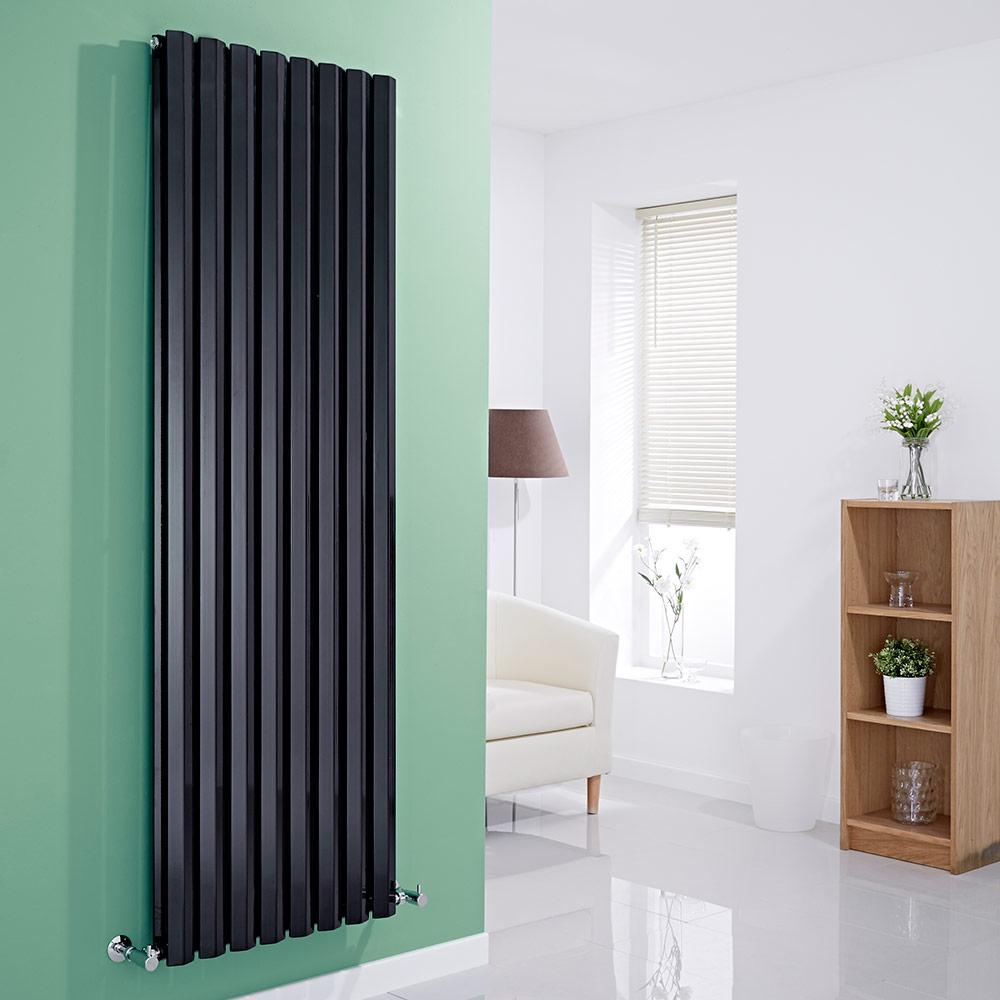 Milano Viti - Black Vertical Diamond Panel Designer Radiator - 1780mm x 560mm (Double Panel)