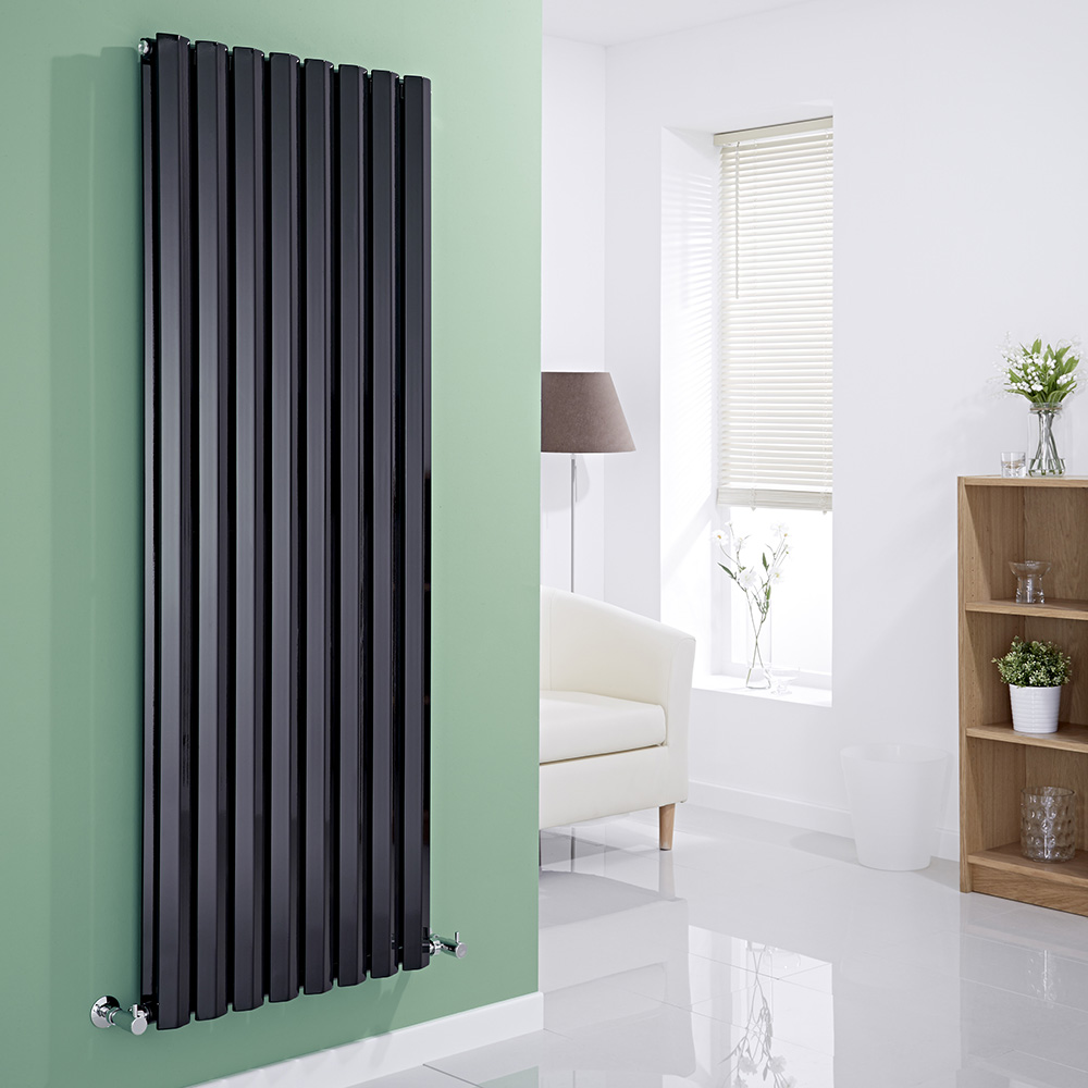Milano Viti - Black Diamond Panel Vertical Designer Radiator - 1600mm x 560mm (Double Panel)