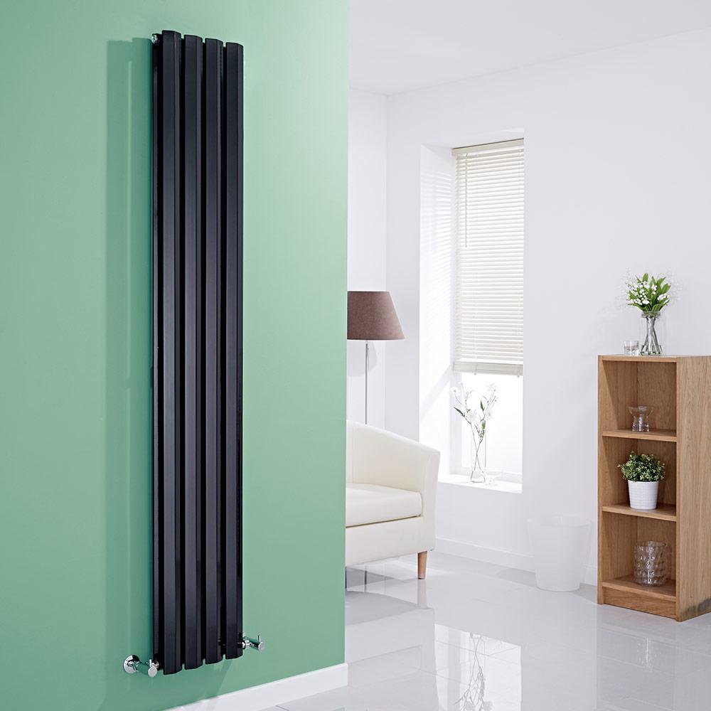 Milano Viti - Black Diamond Panel Vertical Designer Radiator - 1780mm x 280mm (Double Panel)