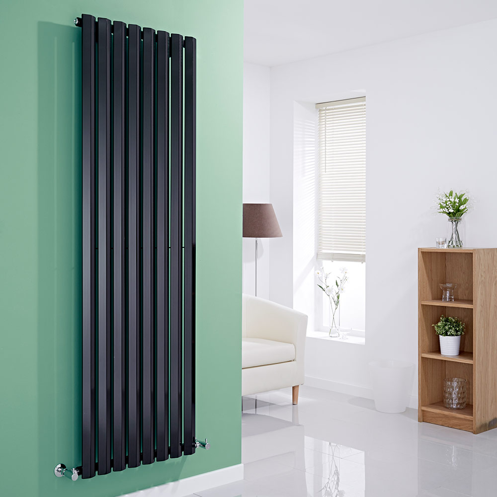 Milano Viti - Black Vertical Diamond Panel Designer Radiator - 1780mm x 560mm