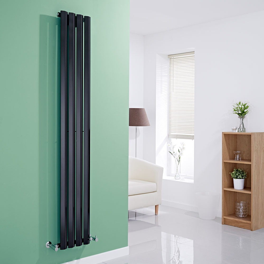 Milano Viti - Black Diamond Panel Vertical Designer Radiator - 1780mm x 280mm
