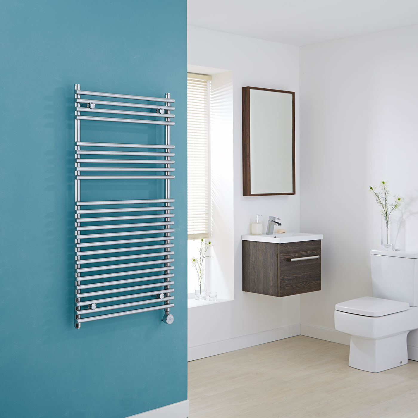 Kudox Electric - Chrome Flat Bar on Bar Heated Towel Rail - 1150mm x 600mm