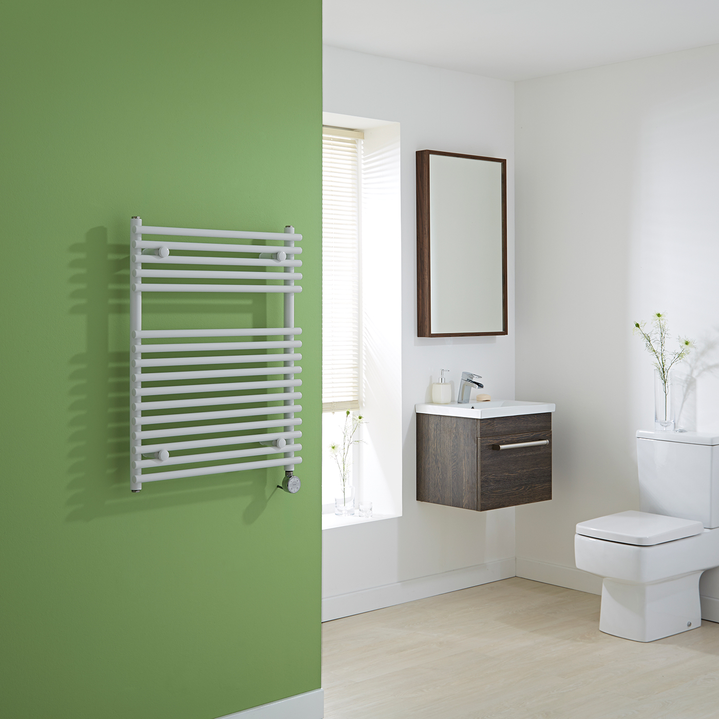 Kudox Electric - Flat White Bar on Bar Towel Rail 750mm x 600mm