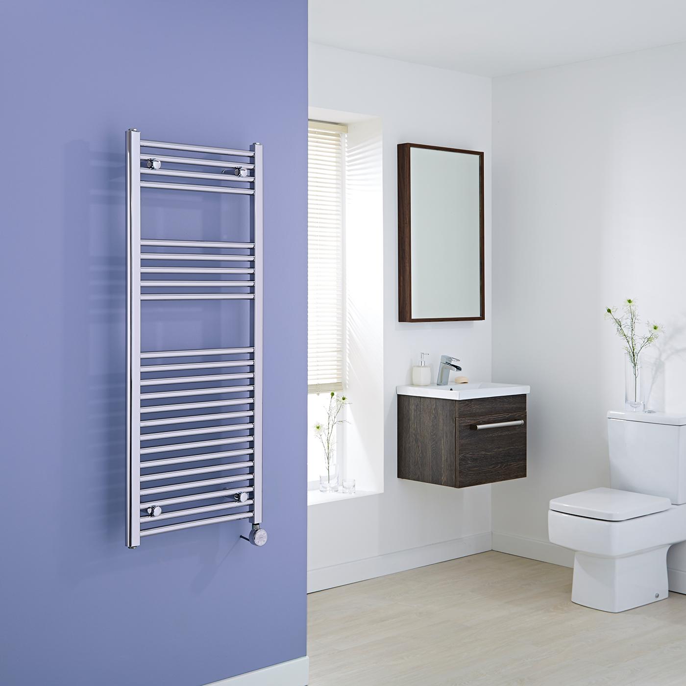 Milano Ribble Electric - Chrome Flat Heated Towel Rail - 1200mm x 500mm