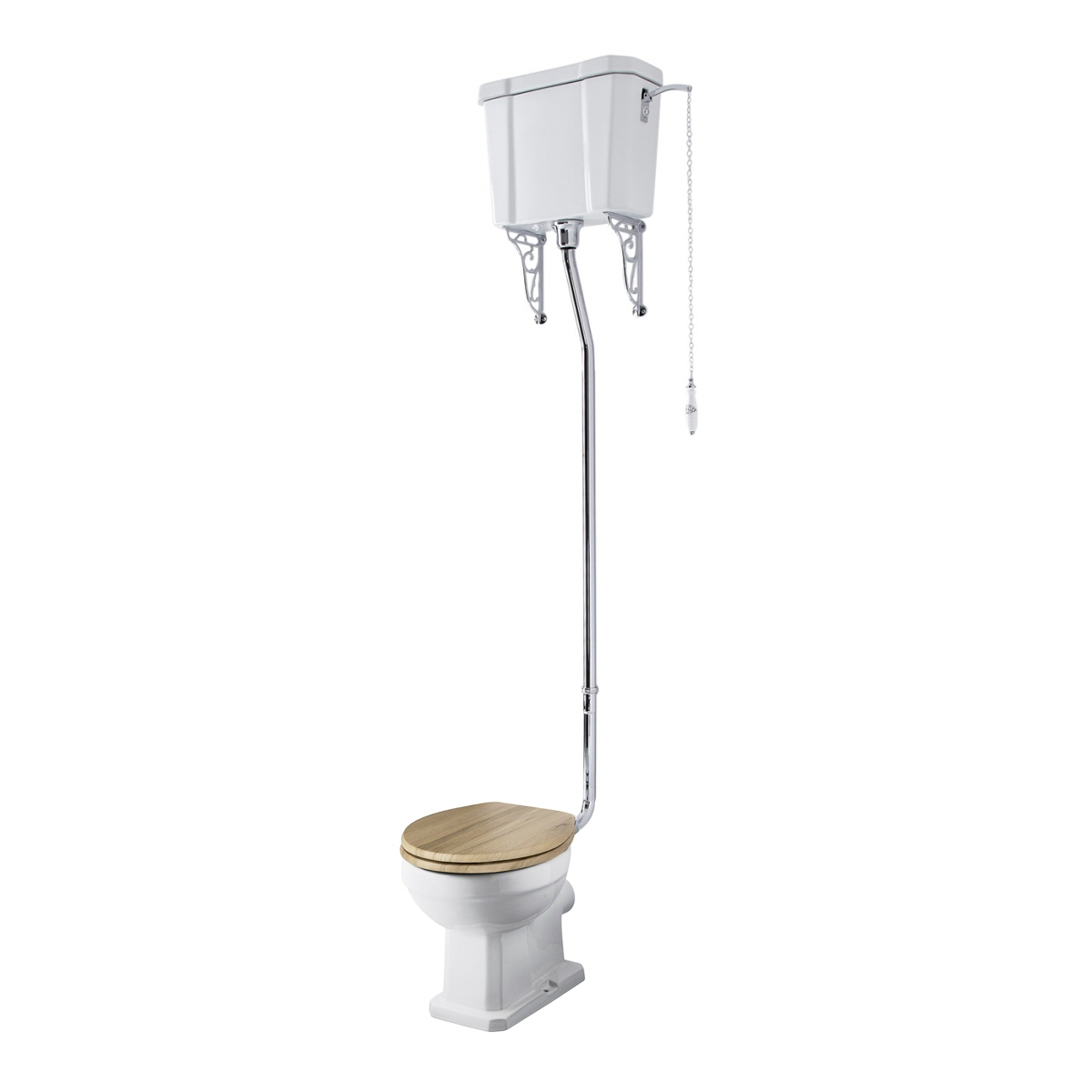 Milano - White Traditional Round Floor Standing Toilet Pan with High Level Cistern and Wooden Seat - 387mm x 1597mm