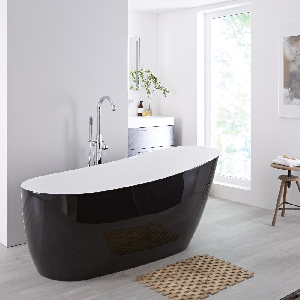 Milano Select 1730mm Freestanding Single Ended Bath - Black