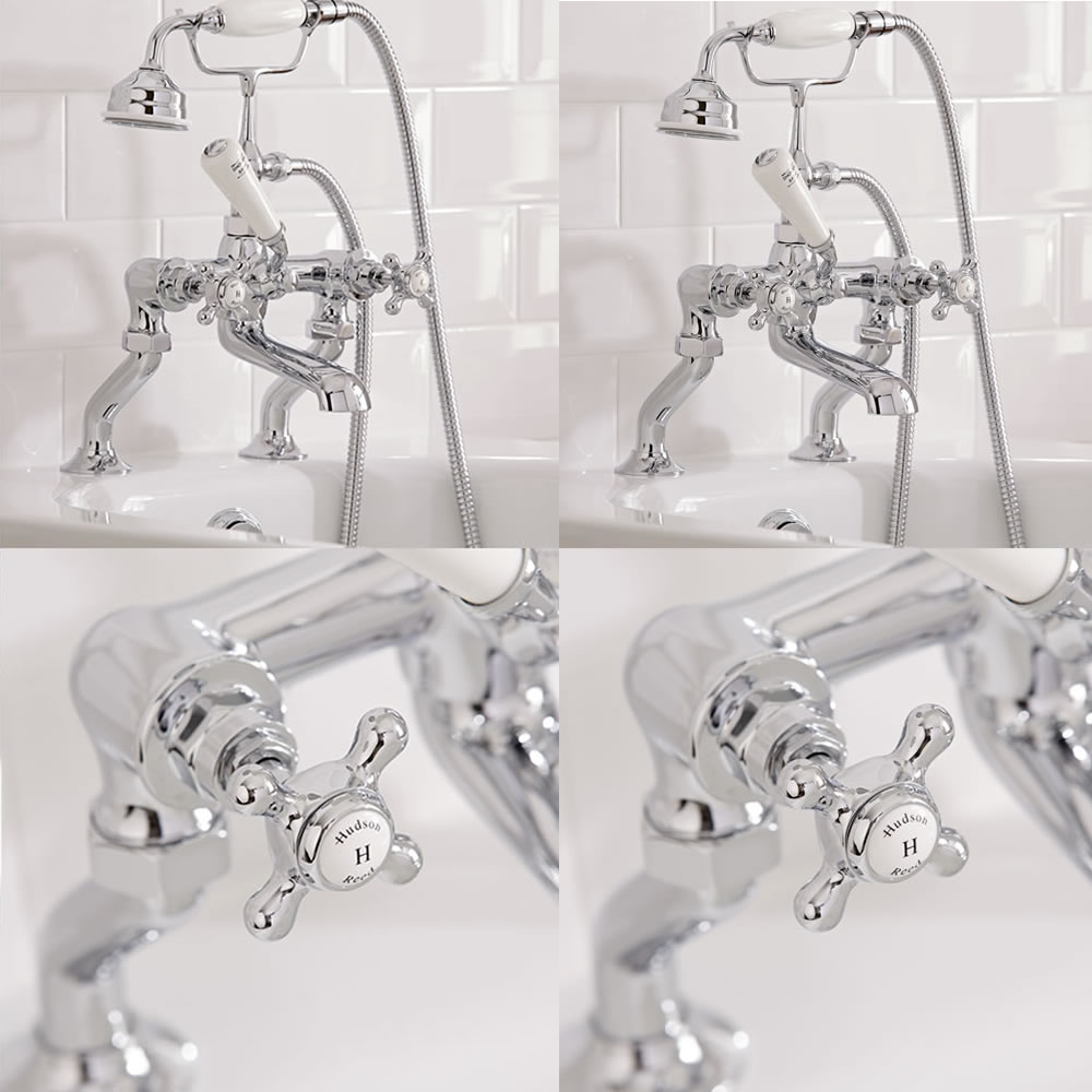 Hudson Reed Topaz Traditional Deck Mounted Bath Shower Mixer Tap Hexagonal Collars