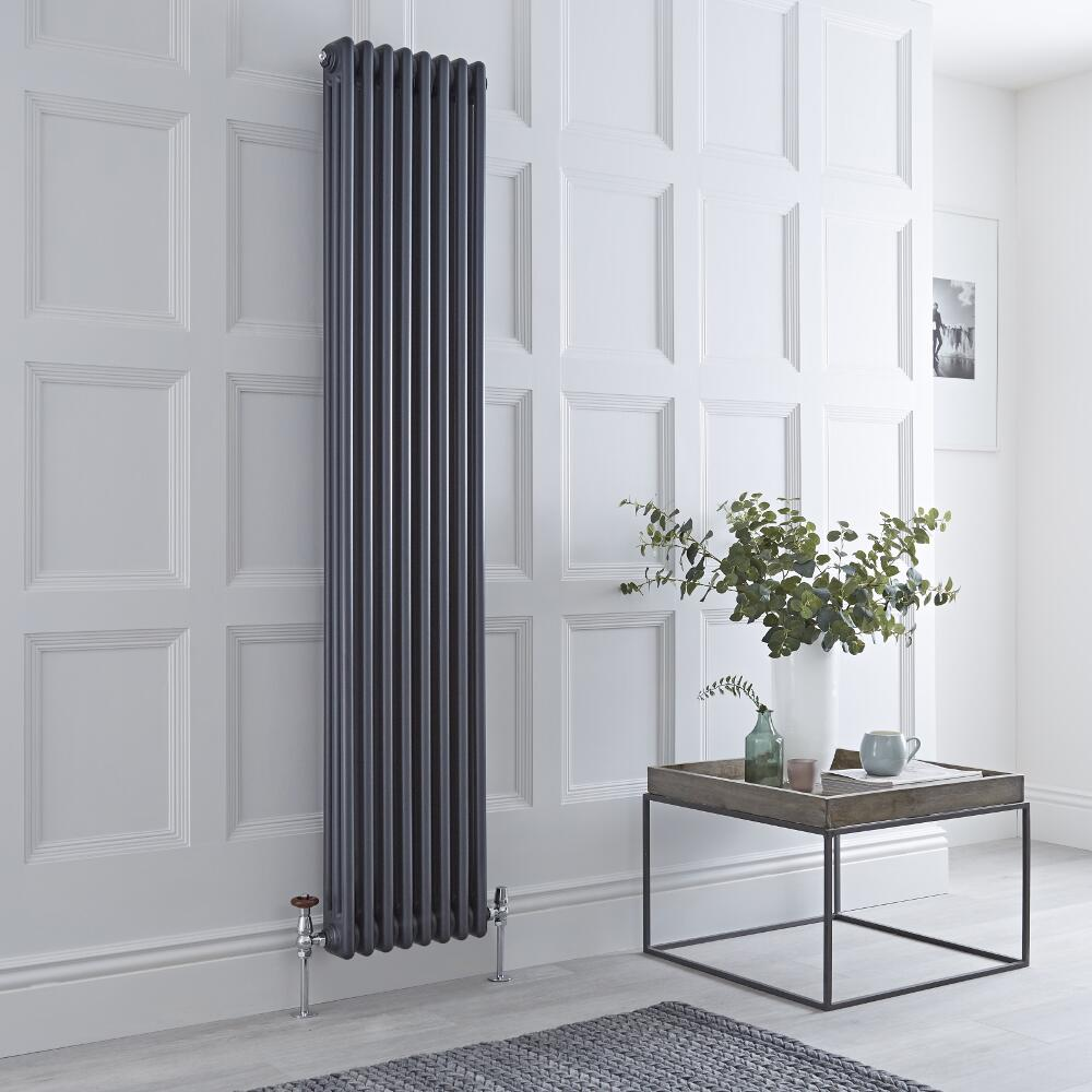 Milano Windsor - Traditional Anthracite 3 Column Radiator 1800mm x 360mm (Vertical)