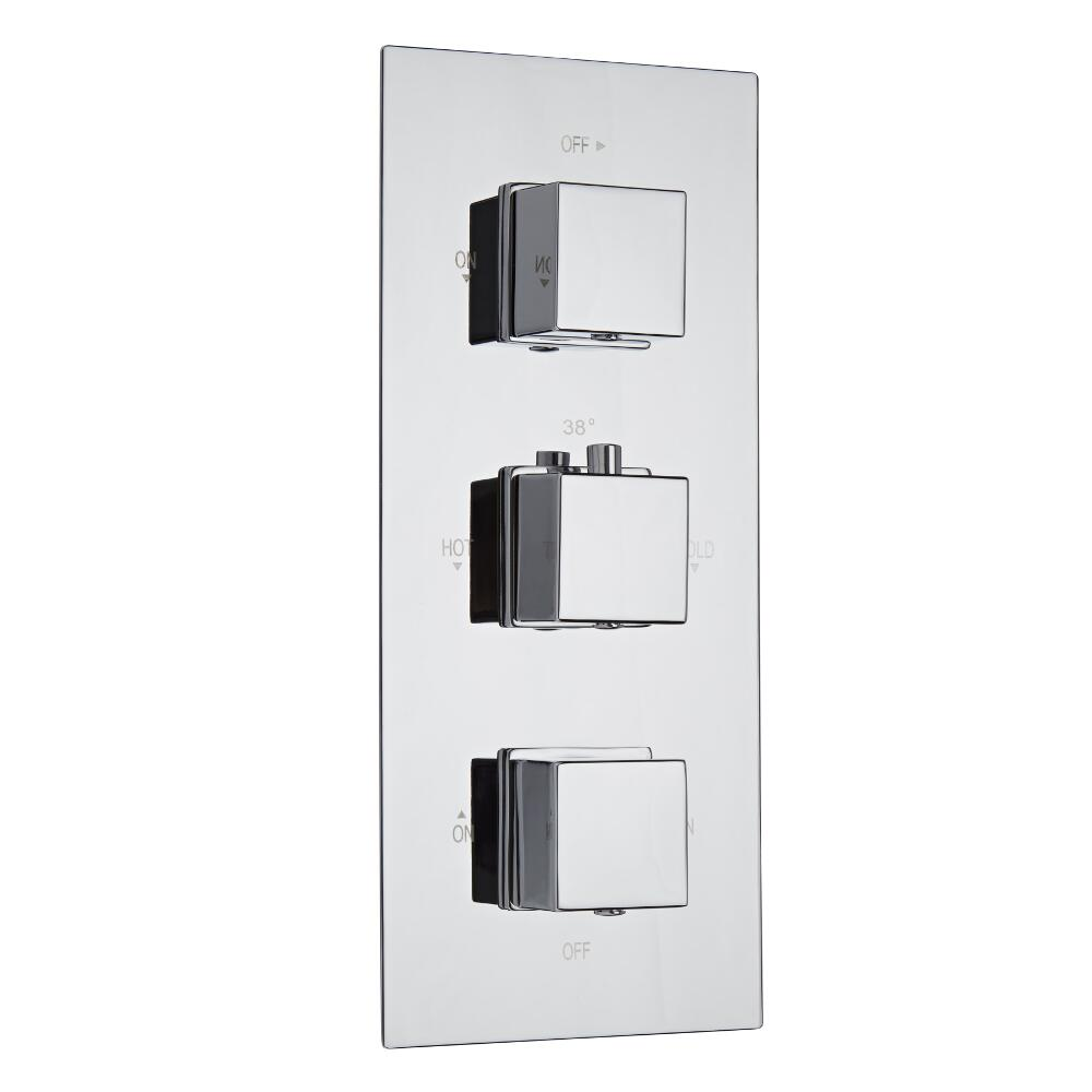 Milano Arvo Square Triple Thermostatic Shower Valve - 2 Outlets Standard Plate