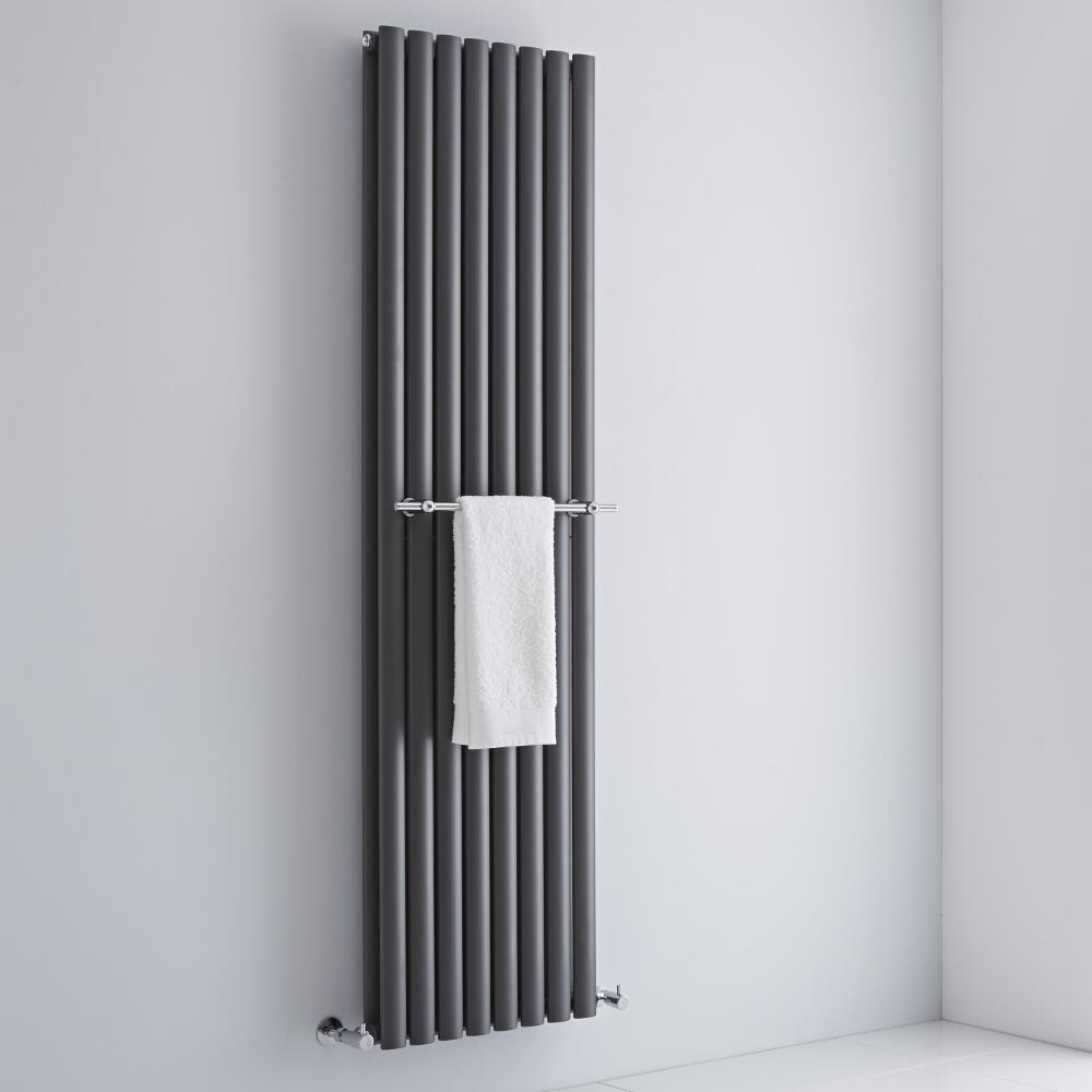 Milano Chrome Towel Rail for Aruba and Alpha Vertical Designer Radiator 470mm