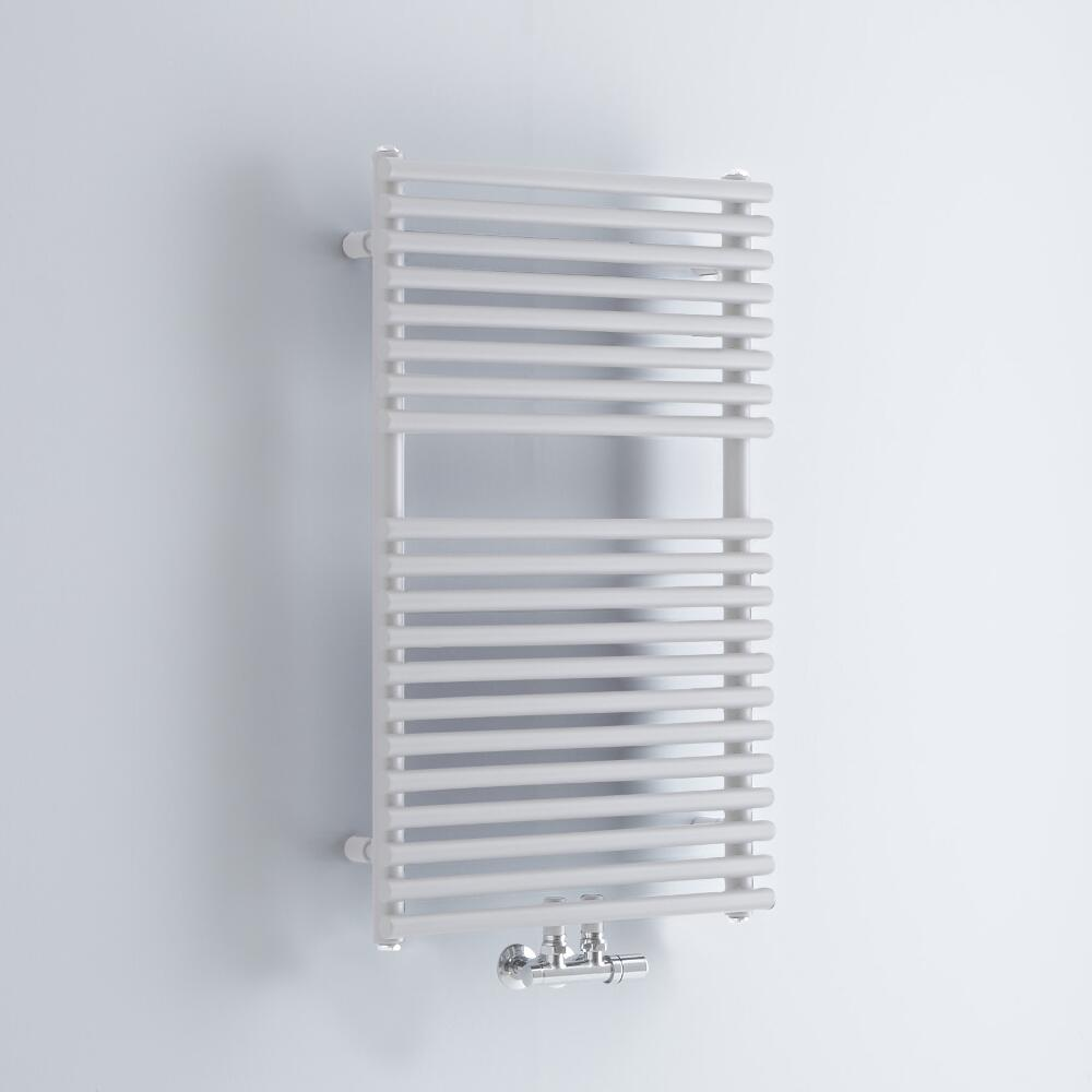 Milano Via - White Bar on Bar Central Connection Heated Towel Rail 835mm x 500mm