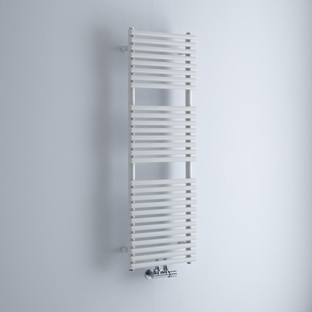 Milano Via - White Bar on Bar Central Connection Heated Towel Rail 1200mm x 400mm