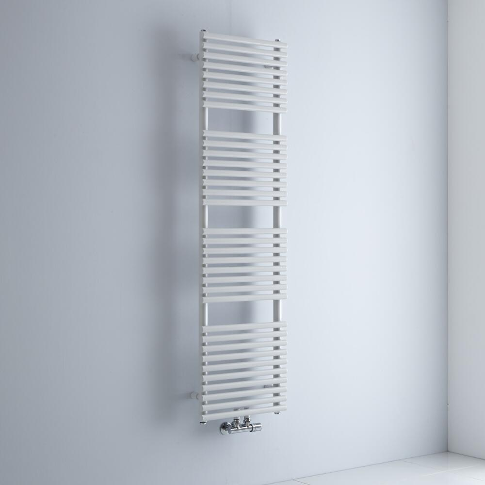 Milano Via - White Bar on Bar Central Connection Heated Towel Rail - 1500mm x 400mm