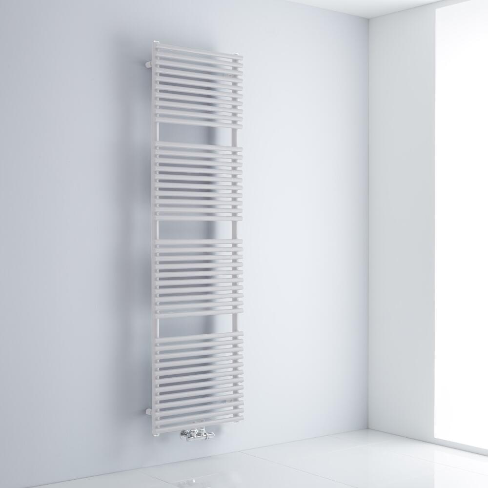 Milano Via - White Bar on Bar Central Connection Heated Towel Rail - 1800mm x 500mm